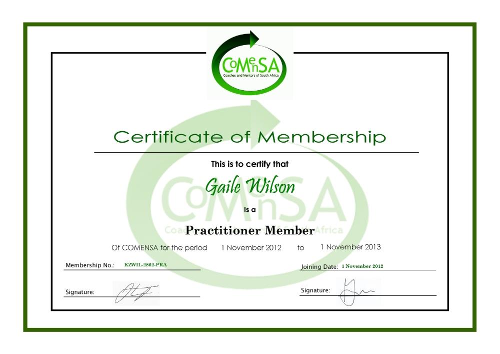 COMENSA certificate of membership gaile wilson